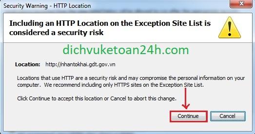 click continue