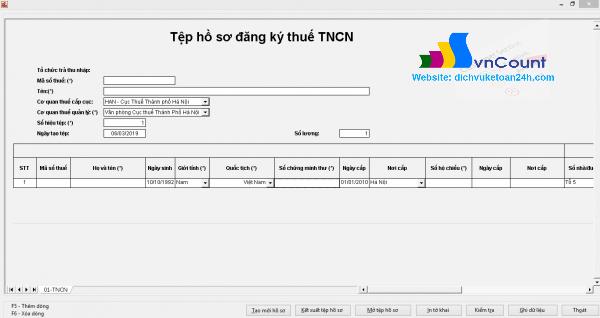 Tệp hồ sơ đăng ký thuế TNCN